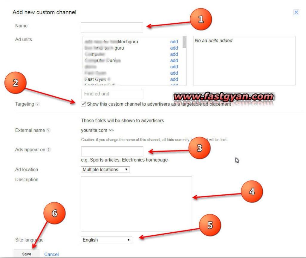 AdSense ad units custom channels size