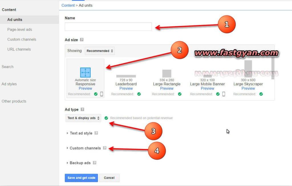 AdSense ads units size