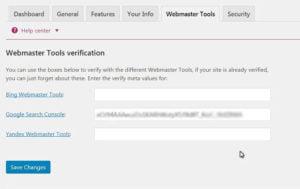 Yoast general seo plugin webmaster tools