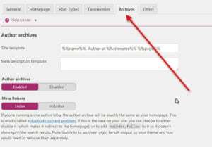 Yoast seo archives setting