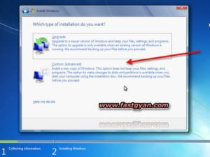 windows 7 install custom setting