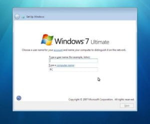 windows 7 set up windows
