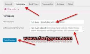 yoast seo homepage setting