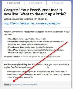 feedburner congrats setting
